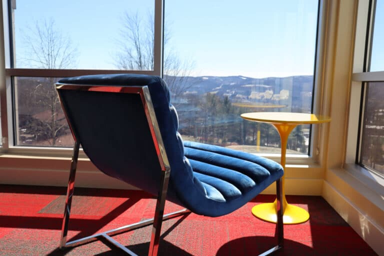 A lounge chair at Hillside Commons